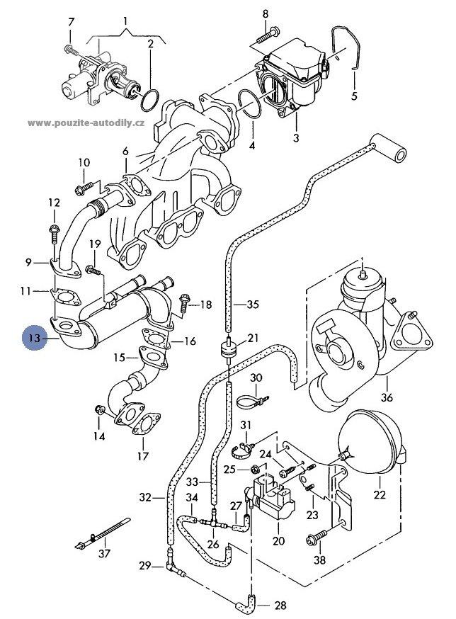 Chladi Pro Zptn Veden Spalin Audi A4 01 08 038131513s